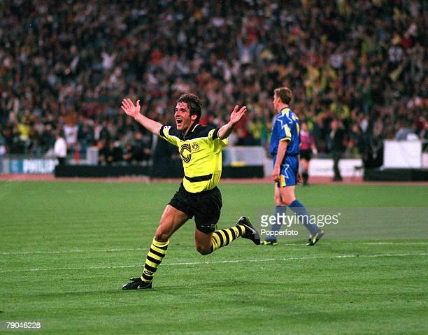 Football UEFA Champions League Final Munich Germany 28th May 1997 Borussia Dortmund 3 v Juventus 1 Borussia Dortmund's Karlheinz Riedle celebrates...