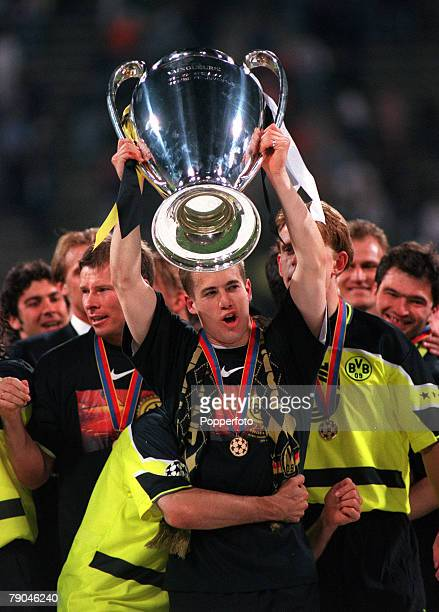 Football UEFA Champions League Final Munich Germany 28th May 1997 Borussia Dortmund 3 v Juventus 1 Borussia Dortmund substitute Lars Ricken who...