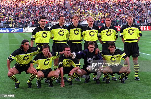 Football UEFA Champions League Final Munich Germany 28th May 1997 Borussia Dortmund 3 v Juventus 1 The Borussia Dortmund team pose together for a...