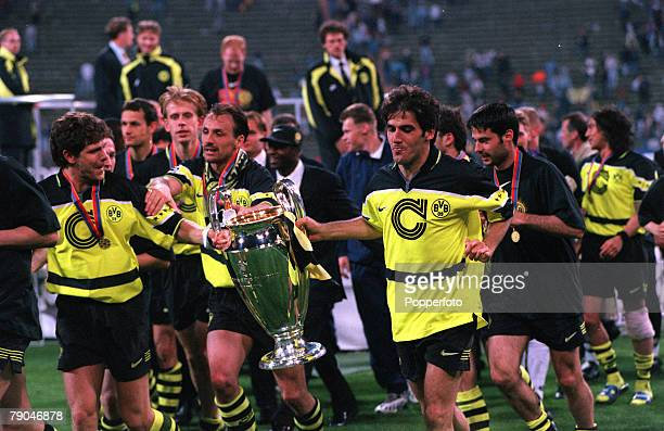 Football UEFA Champions League Final Munich Germany 28th May 1997 Borussia Dortmund 3 v Juventus 1 Borussia Dortmund's LR Andreas Moller Jurgen...