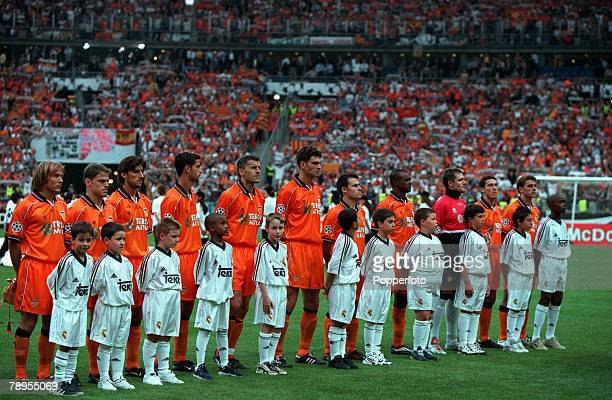 Football UEFA Champions League Final Paris France 24th May Real Madrid 3 v Valencia 0 Valencia team line up before the match with their mascots