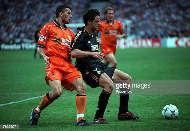 Football UEFA Champions League Final Paris France 24th May Real Madrid 3 v Valencia 0 Real Madrid's Fernando Morientes is challenged for the ball by...