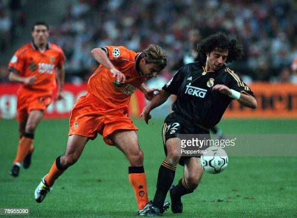 Football UEFA Champions League Final Paris France 24th May Real Madrid 3 v Valencia 0 Real Madrid's Ivan Campo turns away with the ball from...