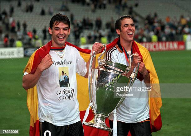 Football UEFA Champions League Final Paris France 24th May Real Madrid 3 v Valencia 0 Real Madrid goalscorers Fernando Morientes and Raul celebrate...