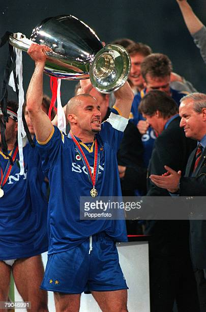 Football UEFA Champions League Final Rome Italy 22nd May 1996 Juventus 1 v Ajax 1 Juventus captain Gianluca Vialli holds the trophy aloft at the...