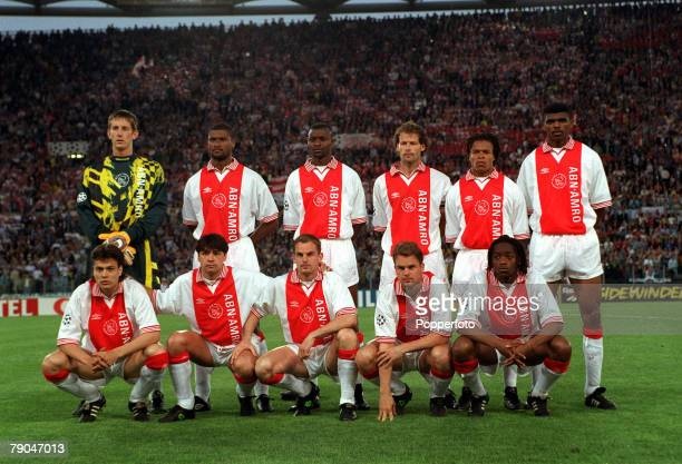 Football UEFA Champions League Final Rome Italy 22nd May 1996 Juventus 1 v Ajax 1 The Ajax team pose together for a group photograph prior to the...