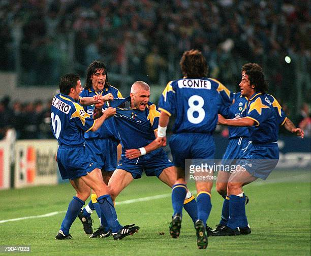 Football UEFA Champions League Final Rome Italy 22nd May 1996 Juventus 1 v Ajax 1 Fabrizio Ravanelli of Juventus celebrates with his teammates after...