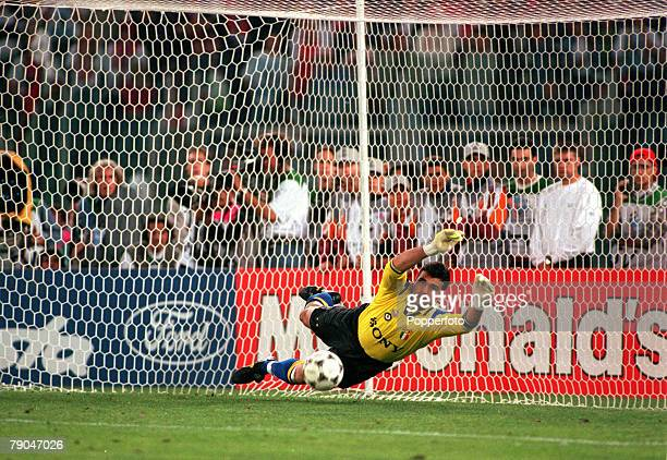 Football UEFA Champions League Final Rome Italy 22nd May 1996 Juventus 1 v Ajax 1 Juventus goalkeeper Angelo Peruzzi saves a penalty in the shootout...