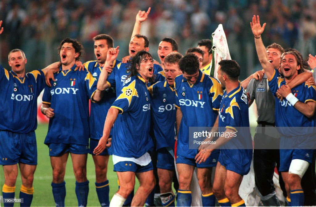 Football. UEFA Champions League Final. Rome, Italy. 22nd May 1996. Juventus 1 v Ajax 1 (after extra time, Juventus win 4-2 on penalties). Members of the Juventus team celebrate after their victory. : News Photo