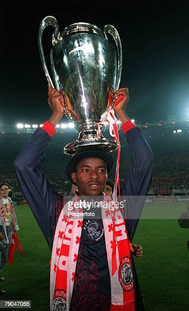 Football UEFA Champions League Final Vienna Austria 24th May 1995 Ajax 1 v AC Milan 0 Finidi George of Ajax holds the trophy aloft