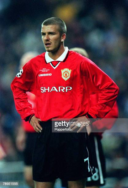 Football UEFA Champions League Quarterfinal 1st Leg 4th April 2000 Madrid Spain Real Madrid 0 v Manchester United 0 David Beckham Manchester United