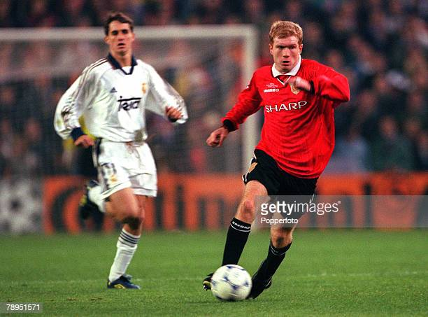 Football UEFA Champions League Quarterfinal 1st Leg 4th April 2000 Madrid Spain Real Madrid 0 v Manchester United 0 Paul Scholes Manchester United