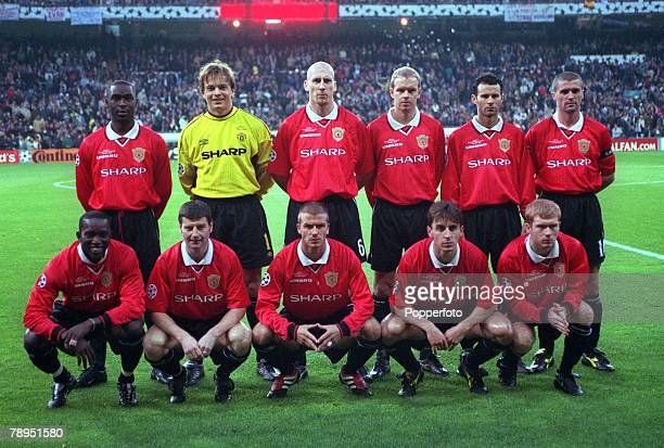 Football UEFA Champions League Quarterfinal 1st Leg 4th April 2000 Madrid Spain Real Madrid 0 v Manchester United 0 Manchester United Team Photograph
