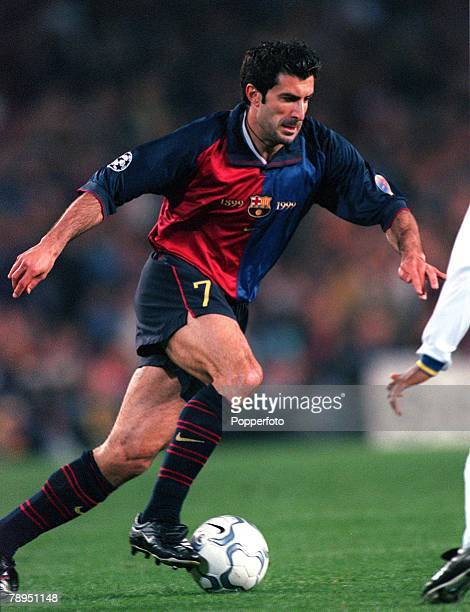 Football UEFA Champions League Quarterfinal 2nd leg Nou Camp Spain 18th April 2000 Barcelona 5 v Chelsea 1 Luis Figo Barcelona
