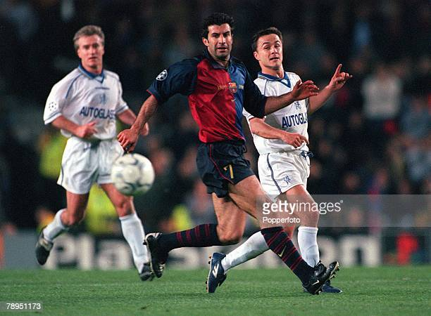 Football UEFA Champions League Quarterfinal 2nd leg Nou Camp Spain 18th April 2000 Barcelona 5 v Chelsea 1 Barcelona's Luis Figo is challenged by...