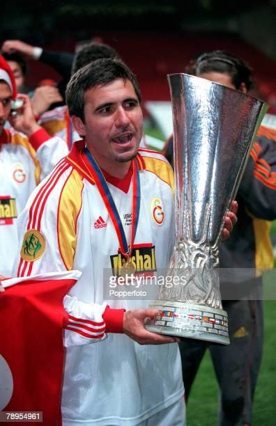 Football UEFA Cup Final 17th May Copenhagen Denmark Galatasaray bt Arsenal 41 on penalties Galatasaray's Gheorghe Hagi with the UEFA Cup as the...
