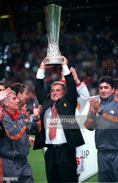 Football UEFA Cup Final 17th May Copenhagen Denmark Galatasaray bt Arsenal 41 on penalties Galatasaray's Coach Fatih Terim holds the UEFA Cup aloft...