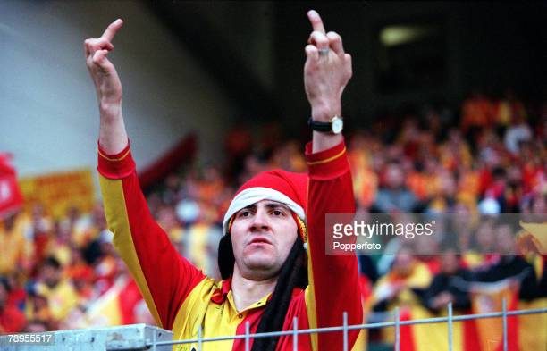 Football UEFA Cup Final 17th May Copenhagen Denmark Galatasaray bt Arsenal 41 on penalties Turkish fan supporting Galatasaray makes an aggressive...