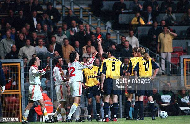 Football UEFA Cup Final 17th May Copenhagen Denmark Galatasaray bt Arsenal 41 on penalties Galatasaray's Georghe Hagi is sentoff by Referee Antonio...