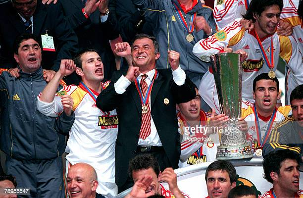 Football UEFA Cup Final 17th May Copenhagen Denmark Galatasaray bt Arsenal 41 on penalties Galatasaray Coach Fatih Terim joins in the celebration's...
