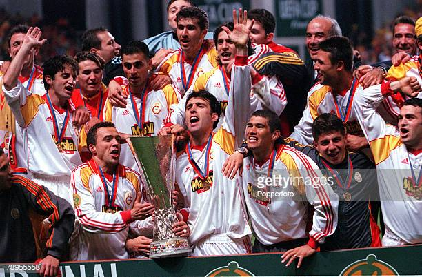 Football UEFA Cup Final 17th May Copenhagen Denmark Galatasaray bt Arsenal 41 on penalties The victorious Galatasaray side celebrate their victory...