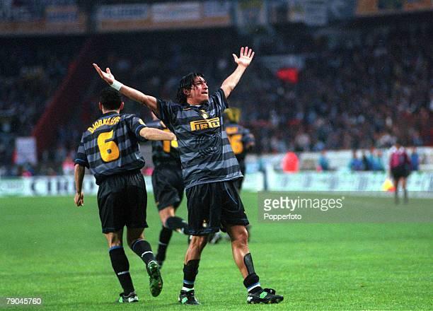 Football UEFA Cup Final Paris France 6th May 1998 Inter Milan 3 v Lazio 0 Inter Milan's Ivan Zamorano celebrates after scoring the first goal