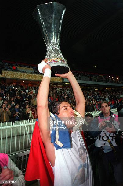 Football UEFA Cup Final Paris France 6th May 1998 Inter Milan 3 v Lazio 0 Inter Milan's Ivan Zamorano holds the trophy aloft