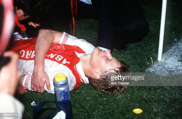 Football UEFA Cup Final Second Leg Amsterdam Holland 13th May 1992 Ajax 0 v Torino 0 Ajax's Steffan Pettersson holds his broken arm after a bad...
