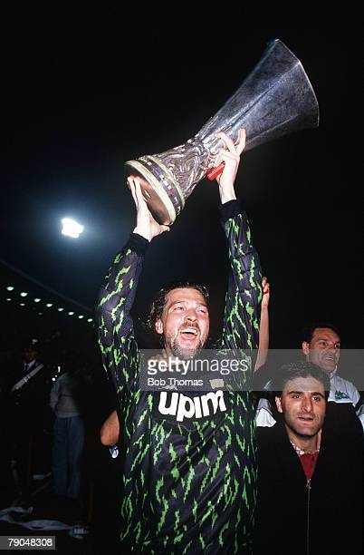 Football UEFA Cup Final Second Leg Florence Italy 16th May 1990 Fiorentina 0 v Juventus 0 Juventus goalkeeper Stefano Tacconi holds the trophy aloft
