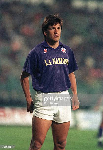 Football UEFA Cup Final Second Leg Florence Italy 16th May 1990 Fiorentina 0 v Juventus 0 Fiorentina's Carlos Dunga