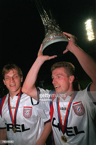 Football UEFA Cup Final Second Leg France 15th May 1996 Bordeaux 1 v Bayern Munich 3 Bayern Munich's Andreas Herzog and Thomas Strunz parade the...