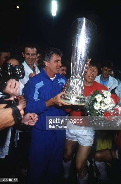 Football UEFA Cup Final Second Leg Germany 18th May 1988 Bayer Leverkusen 3 v Espanol 0 Bayer Leverkusen coach Erich Ribbeck celebrates with Bum Kun...