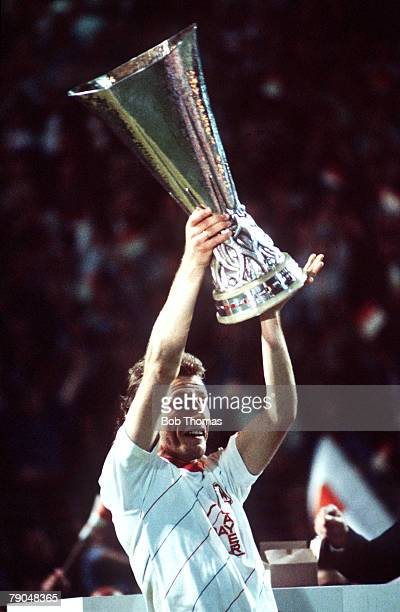 Football UEFA Cup Final Second Leg Germany 18th May 1988 Bayer Leverkusen 3 v Espanol 0 Bayer Leverkusen captain Wolfgang Rolff holds the trophy aloft