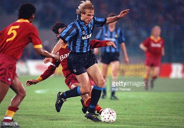 Football UEFA Cup Final Second Leg Rome Italy 22nd May 1991 Roma 1 v Inter Milan 0 Inter Milan's Jurgen Klinsmann