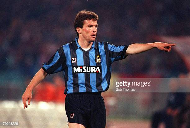 Football UEFA Cup Final Second Leg Rome Italy 22nd May 1991 Roma 1 v Inter Milan 0 Inter Milan's Lothar Matthaus