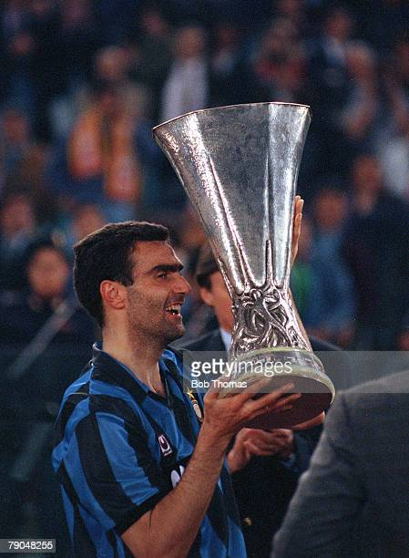 Football UEFA Cup Final Second Leg Rome Italy 22nd May 1991 Roma 1 v Inter Milan 0 Inter Milan captain Giuseppe Bergomi lifts the trophy