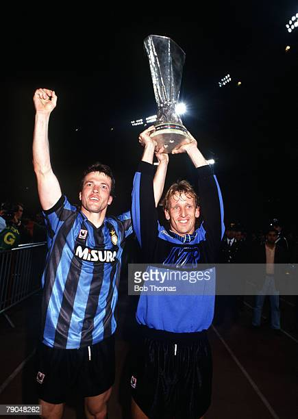 Football UEFA Cup Final Second Leg Rome Italy 22nd May 1991 Roma 1 v Inter Milan 0 Inter Milan's Lothar Matthaus and Andreas Brehme hold the trophy...