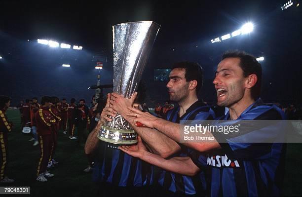 Football UEFA Cup Final Second Leg Rome Italy 22nd May 1991 Roma 1 v Inter Milan 0 Inter Milan captain Giuseppe Bergomi and teammate Sergio...