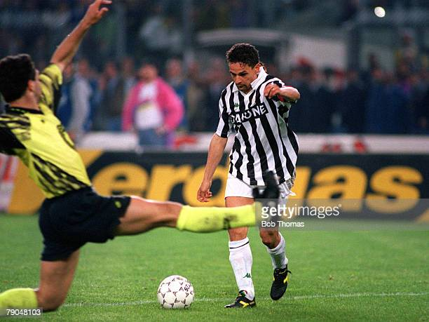 Football UEFA Cup Final Second Leg Turin Italy 19th May 1993 Juventus 3 v Borussia Dortmund 0 Roberto Baggio of Juventus prepares to shoot