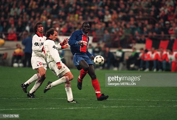 Football UEFA Cup semifinal Milan Paris SG In Milan Italy In April 1995 George Weah