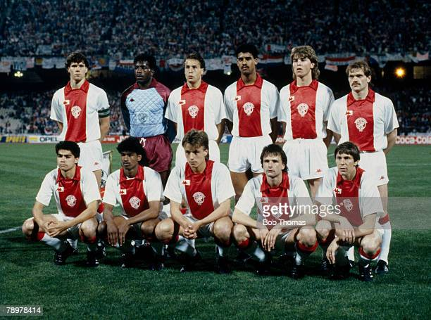 Football UEFA Cup Winners Cup Final Athens Greece 15th May 1987 Ajax Amsterdam 1 v Lokomotiv Leipzig 0 The Ajax team lineup together for a group...