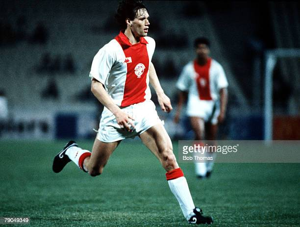 Football UEFA Cup Winners Cup Final Athens Greece 15th May 1987 Ajax Amsterdam 1 v Lokomotiv Leipzig 0 Ajax's Marco Van Basten