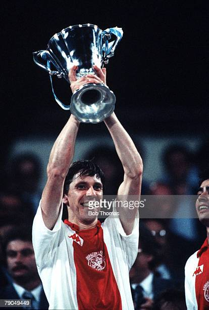 Football UEFA Cup Winners Cup Final Athens Greece 15th May 1987 Ajax Amsterdam 1 v Lokomotiv Leipzig 0 Ajax's Arnold Muhren holds the trophy aloft