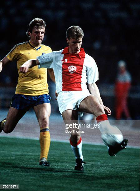 Football UEFA Cup Winners Cup Final Athens Greece 15th May 1987 Ajax Amsterdam 1 v Lokomotiv Leipzig 0 Ajax's Dennis Bergkamp is under pressure from...