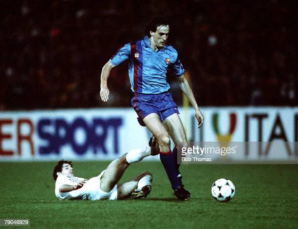 Football UEFA Cup Winners Cup Final Berne Switzerland 10th May 1989 Barcelona 2 v Sampdoria 0 Barcelona's Miguel Soler