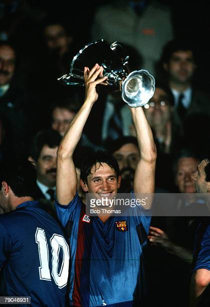 Football UEFA Cup Winners Cup Final Berne Switzerland 10th May 1989 Barcelona 2 v Sampdoria 0 Barcelona's Gary Lineker holds the trophy aloft