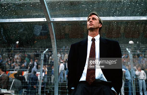 Football UEFA Cup Winners Cup Final Berne Switzerland 10th May 1989 Barcelona 2 v Sampdoria 0 Barcelona Manager Johan Cruyff watches from the dugout