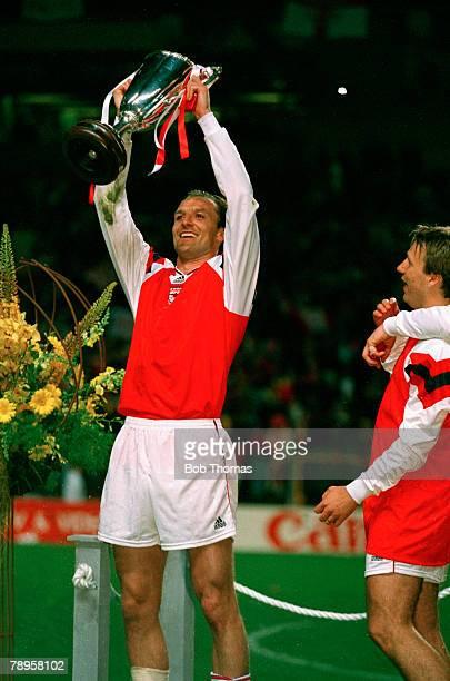 Football UEFA Cup Winners Cup Final Copenhagen Denmark 4th May 1994 Arsenal 1 v Parma 0 Arsenal's Steve Bould holds the trophy aloft