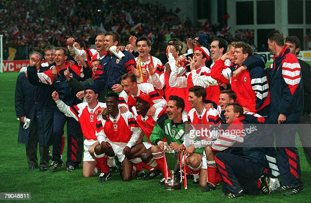 Football UEFA Cup Winners Cup Final Copenhagen Denmark 4th May 1994 Arsenal 1 v Parma 0 The Arsenal players and officials celebrate with the trophy