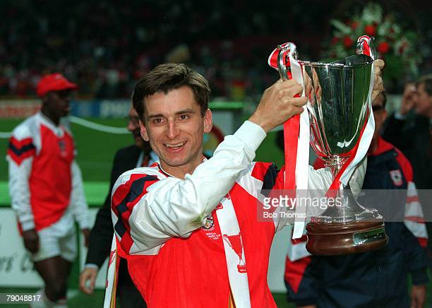 Football UEFA Cup Winners Cup Final Copenhagen Denmark 4th May 1994 Arsenal 1 v Parma 0 Arsenal's Alan Smith the scorer of the winning goal holds the...